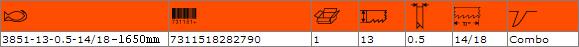 Биметална отрезна лента BAHCO 3851-13-0.5-14/18-1650