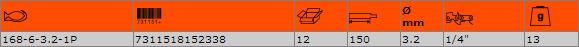 Кръгла заточваща пила BAHCO 168-6-3.2-1P