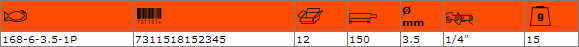 Кръгла заточваща пила BAHCO 168-6-3.5-1P