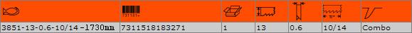 Биметална отрезна лента BAHCO 3851-13-0.6-10/14-1730