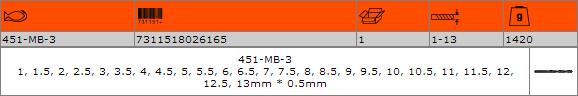 Комплект свредла за метал BAHCO 451-MB-3