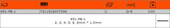 Комплект свредла за метал BAHCO 451-PB-1