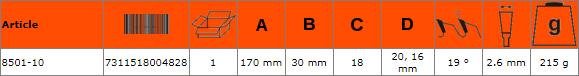 Циркулярен диск за дърво 170mm BAHCO 8501-10