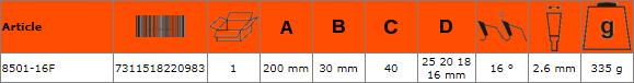 Циркулярен диск за дърво 200mm BAHCO 8501-16F
