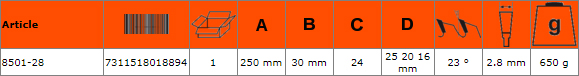 Циркулярен диск за дърво 250mm BAHCO 8501-28