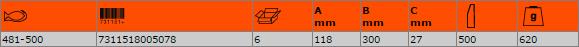 Шлосерски чук с метална глава 500g BAHCO 481-500