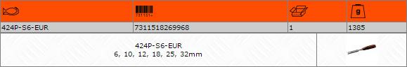 Комплект плоски длета 6-10-12-18-25-32mm BAHCO 424P-S6-EUR