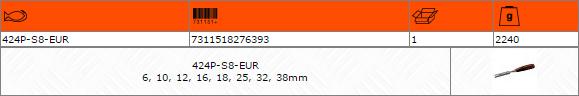 Комплект плоски длета 6-10-12-16-18-25-32-38mm BAHCO 424P-S8-EUR
