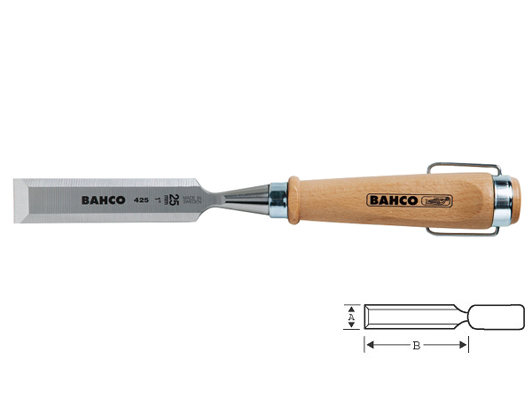 Плоско длето с дървена дръжка 4mm BAHCO 425-4