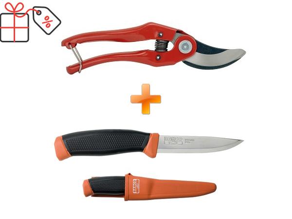Комплект Лозарска ножица и туристически нож BAHCO P121-23-2444