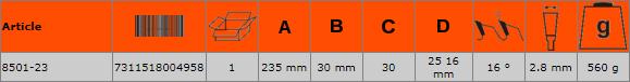Циркулярен диск за дърво 235mm BAHCO 8501-23