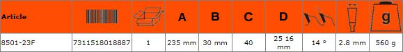 Циркулярен диск за дърво 235mm BAHCO 8501-23F